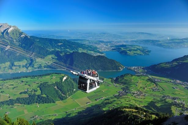 Breathtaking cable car drive , Cabrio, Stanserhorn, Switzerland