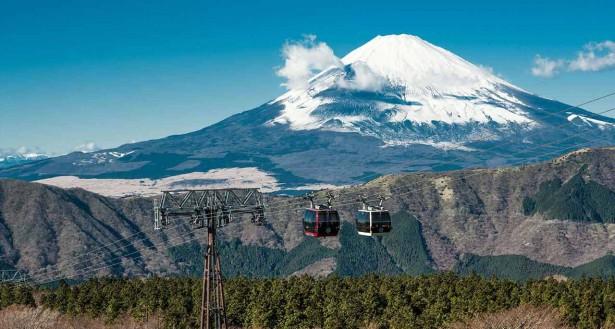 Hakone ropeway in Japan, spectacular tramway