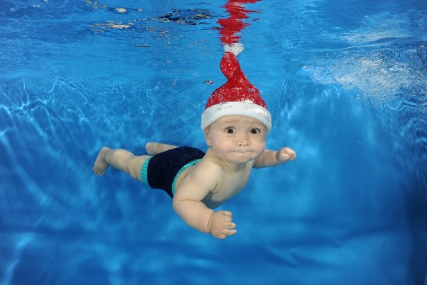 Merry Christmas and Happy New Year, cute baby divers