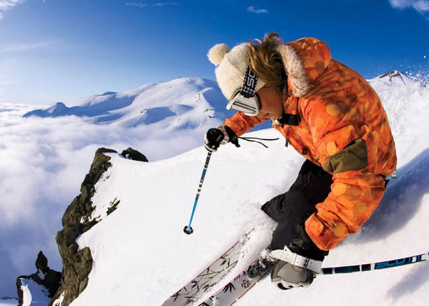 Freestyle skiing by Chris Davenport in the Andes Mountains
