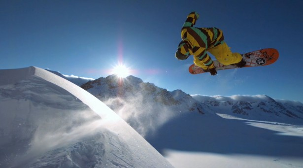 Freestyle snowboarding by John Jackson in the Andes Mountains