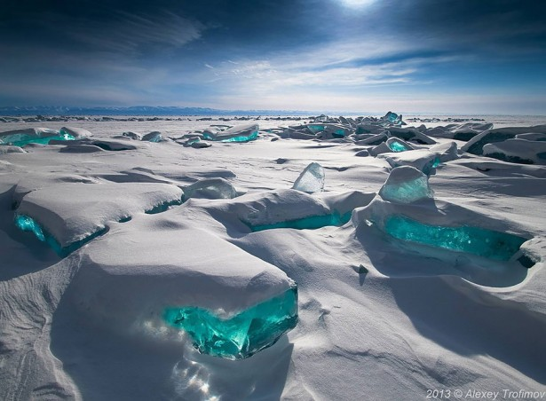 Frozen Lake Baikal in Russia
