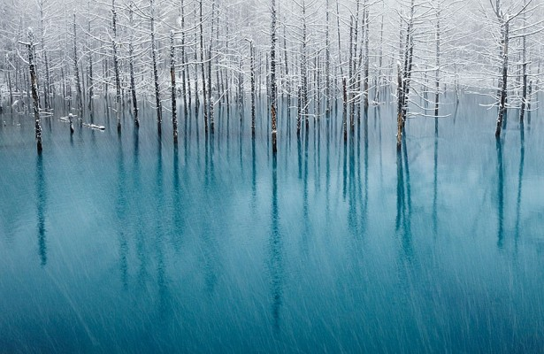 Frozen lakes and ponds, Blue pond in Japan