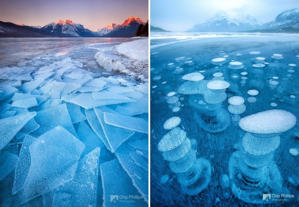 Frozen Lake McDonald in Montana USA & Lake Abraham in Canada