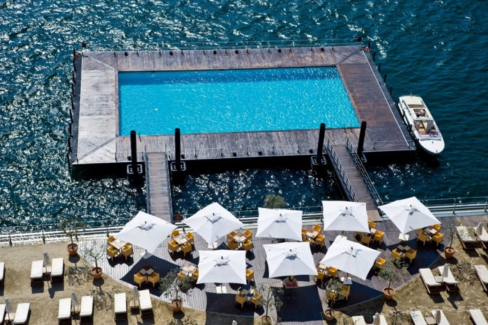 Floating pool in lake Como in Italy is one of the most amazing swimming pools in the world.