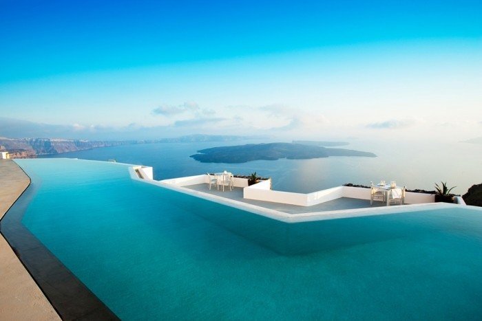Infinity pool at Grace Santorini has one of the most amazing swimming pools in the world.