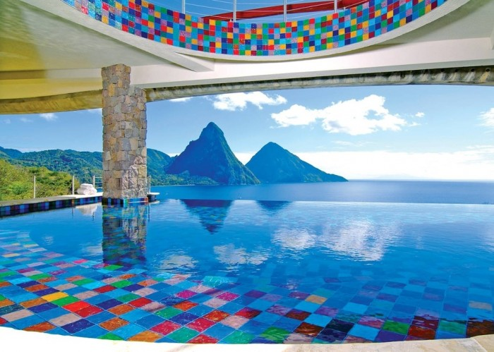 Jade Mountain Resort in St Lucia has one of the most amazing swimming pools in the world.