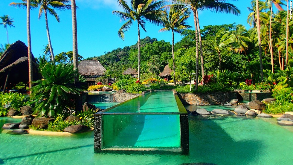 Laucala island in Fiji has one of the most amazing swimming pools in the world.