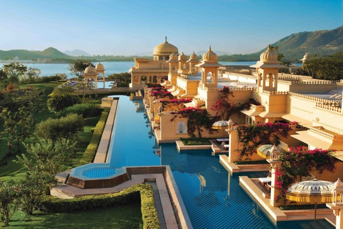 Udaivilas pool in Udaipur in India is one of the most amazing swimming pools in the world.