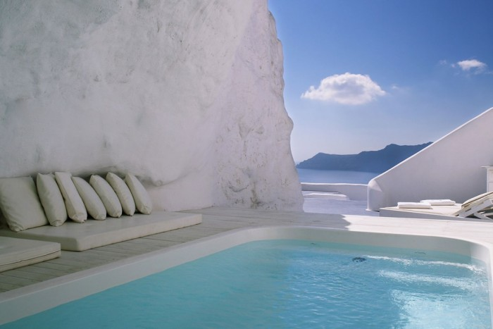 Cave pool at Katikies in Santorini is one of the most amazing swimming pools in the world.