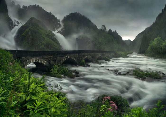 Låtefossen Waterfall in Norway is one of the World's most magical old bridges