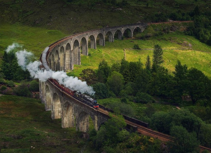 Glenfinnan Viaduct in Scotland is one of the World's most magical old bridges