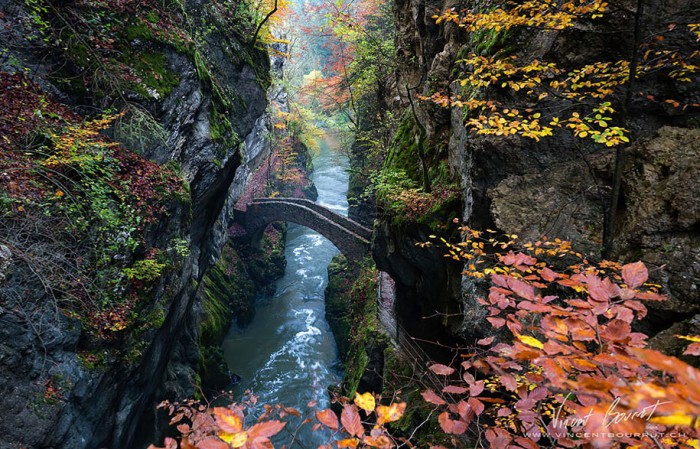Gorge De L'areuse, Switzerland is one of the World's most magical old bridges