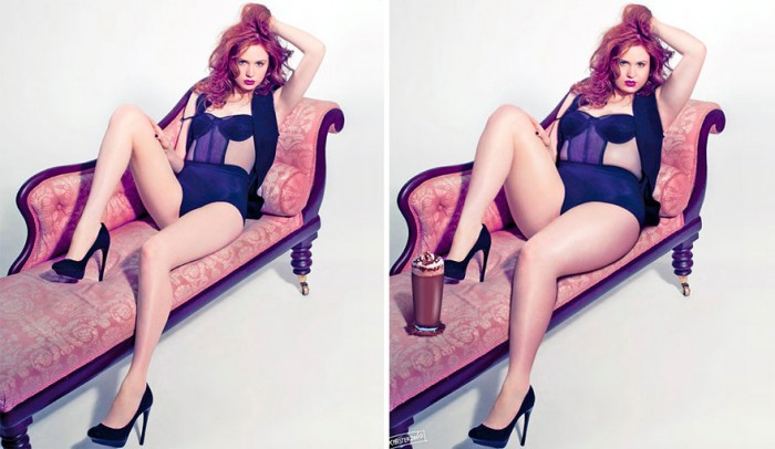 Karen Gilian is one of the plus size celebrities photoshopped by David Lopera