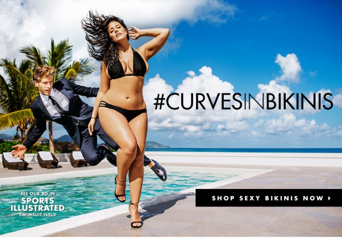 Sports Illustrated Swimsuit ad with Ashley Graham, a plus-sized model