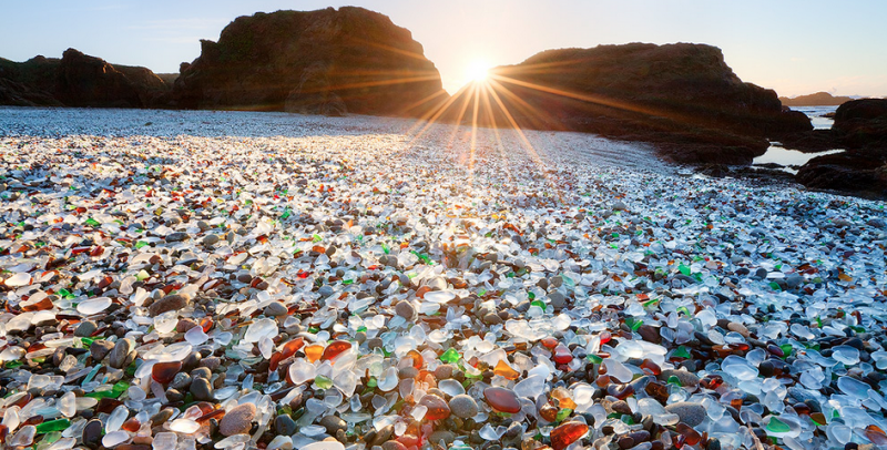 Unique and unusual beaches in the world. Glass Beach in California
