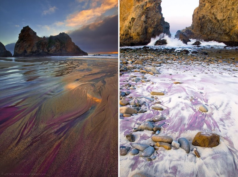 Unique and unusual beaches in the world. Pfeiffer Purple Sand Beach in California