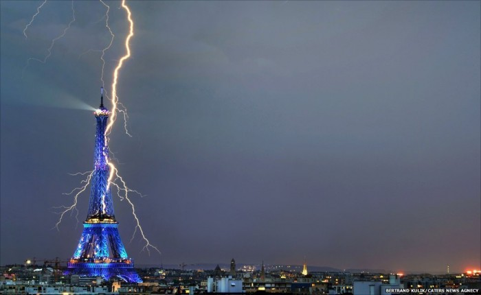 One of the most amazing thunderstorm pictures is taken in Paris.