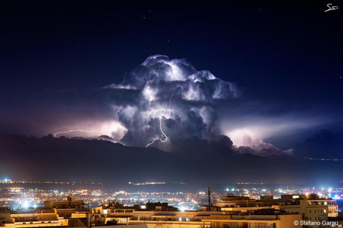 One of the most amazing thunderstorm pictures is taken in Cagliari.