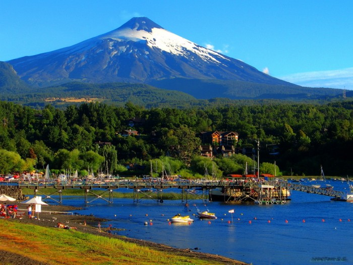 Pucón in Chile is one of the beautiful small towns in the world.
