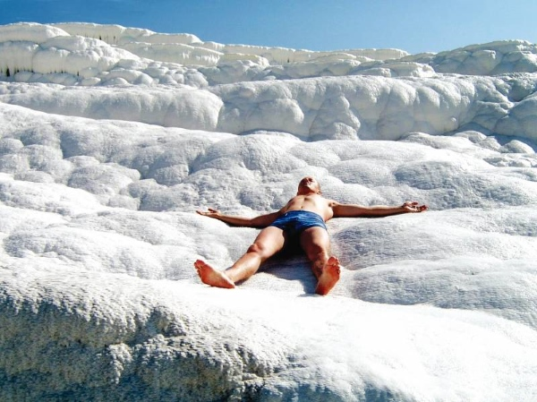 Pamukkale thermal pools located in Turkey.