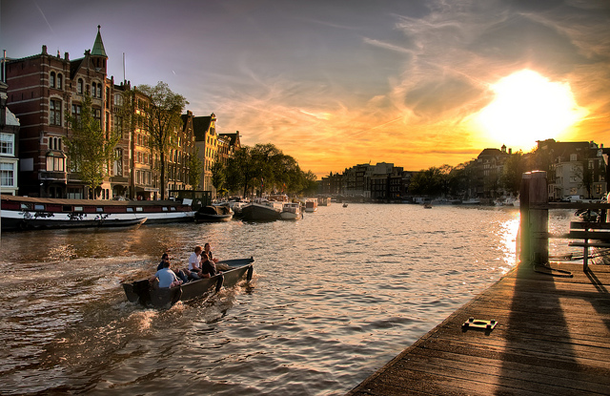 Amsterdam is the one of the best spots to watch spectacular sunsets.