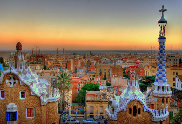Barcelona in Spain is the one of the best spots to watch spectacular sunsets.