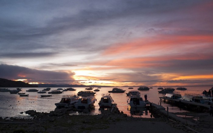 Lake Titicaca in Peru is the one of the best spots to watch spectacular sunsets.
