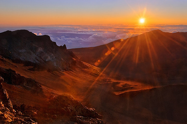 Mount Haleakala in Hawaii is the one of the best spots to watch spectacular sunsets.