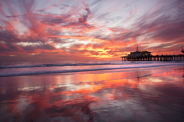 Santa Monica is the one of the best spots to watch spectacular sunsets.