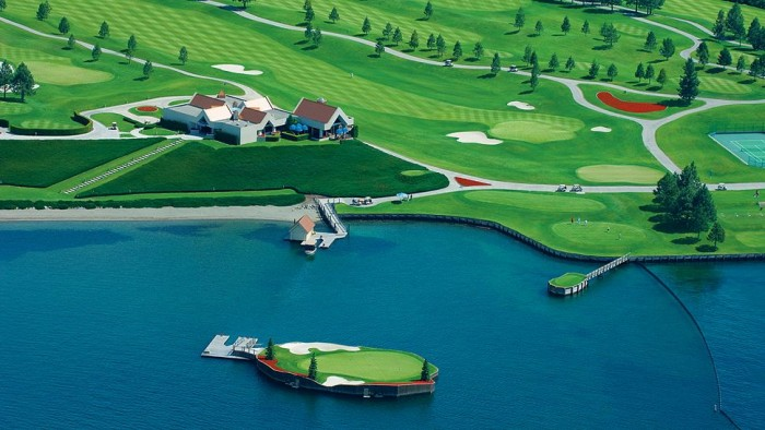 The Lake Coeur d'Alene golf course is one of the most unusual sports venues in the world.