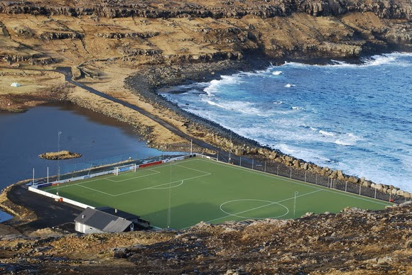 Eidi Stadium in the Faroe Islands is one of the most unusual sports venues in the world.