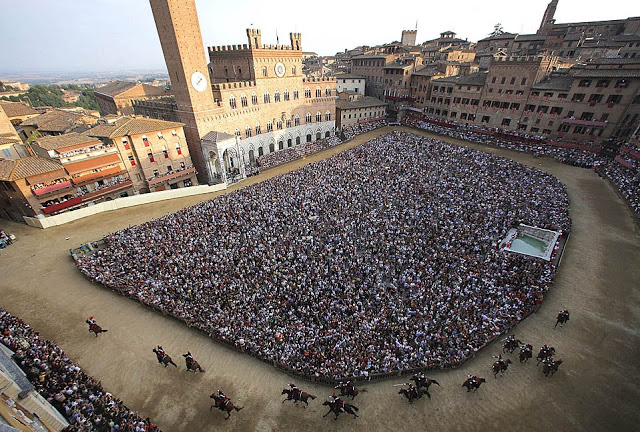 The Palio horse race in Italy is one of the most unusual sports venues in the world.