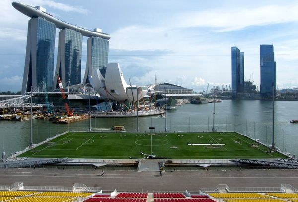 The Float at Marina Bay in Singapore is one of the most unusual sports venues in the world.