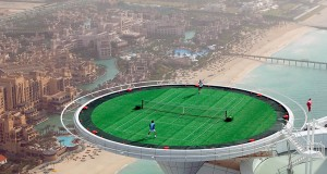 Tennis court at Burj Al Arab in the United Arab Emirates is one of the most unusual sports venues in the world.
