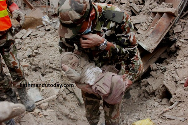 A baby rescued after Nepal earthquake.