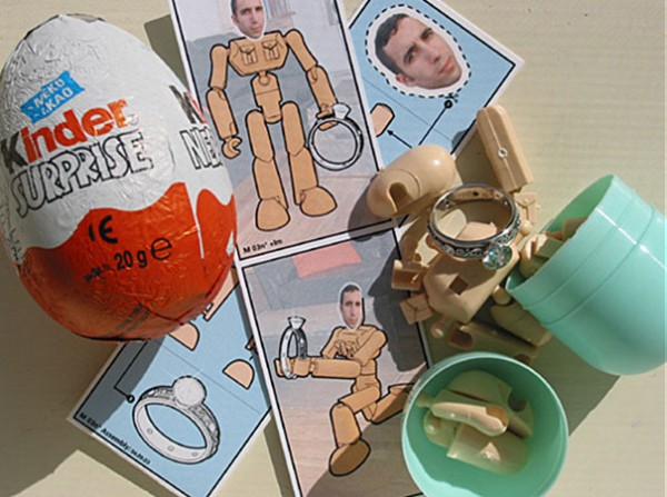 One of the most unique marriage proposal ideas is putting the ring into a Kinder egg.