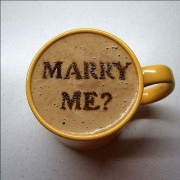 marriage proposal ideas, coffee
