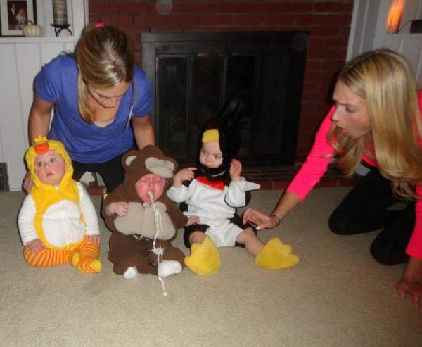 perfectly timed photos, a baby puking on its costume