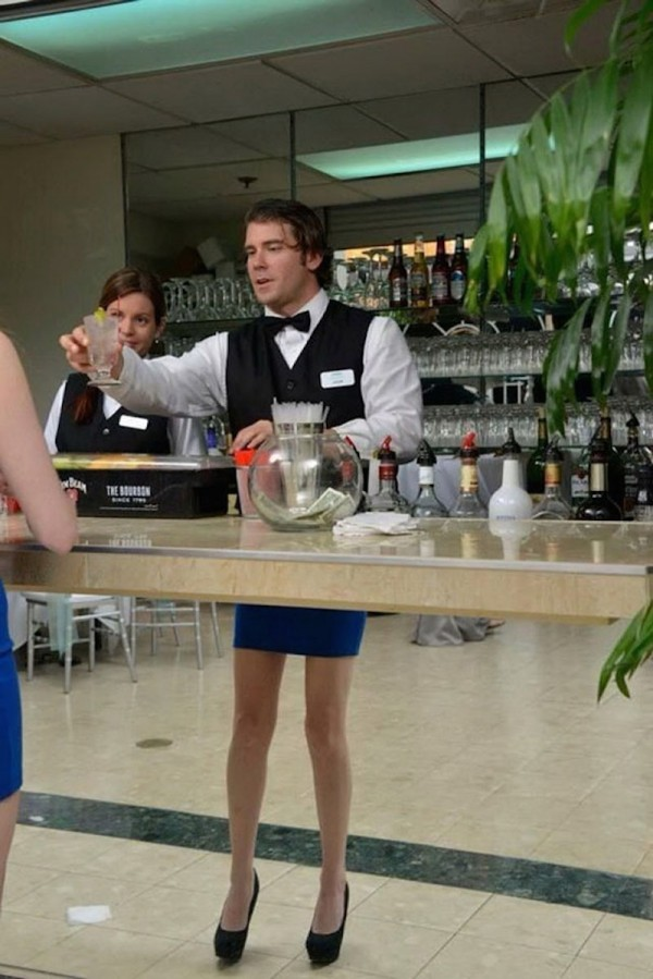 Perfectly timed photos, a funny looking waiter