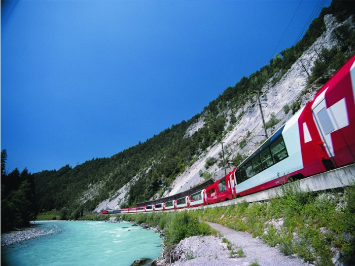 Glacier Express in Switzerland is one of the most scenic train rides in the world.