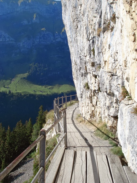Ebenalp Path in Switzerland is one of the most spectacular cliff walks in the world.