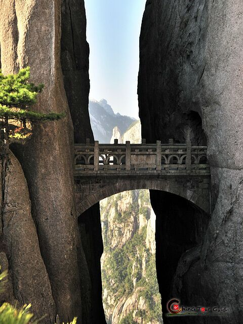 Fairytale Bridge in the Huangshan mountains in China offers a spectacular view from above.