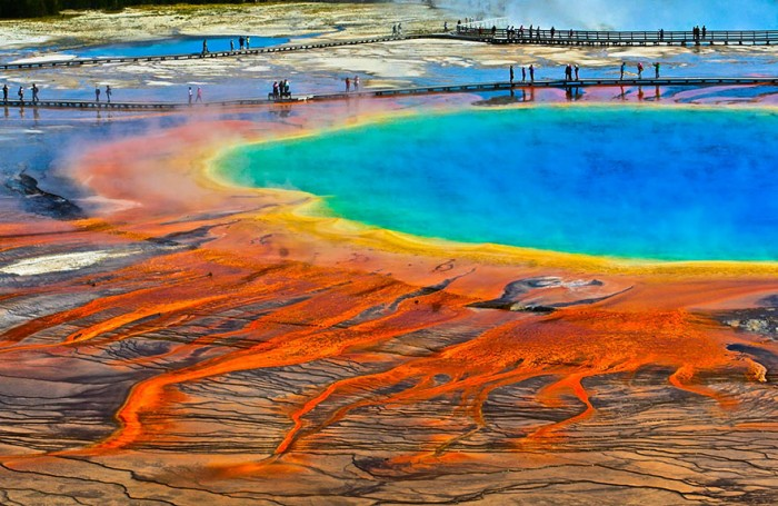 Grand Prismatic Spring in Yellowstone National Park is one of the 20 unbelievable places on earth.