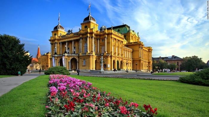 Croatian national Theater is one of the most beautiful places to visit in Croatia.
