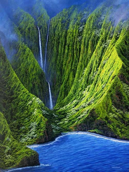 Impressive waterfalls around the world -  Molokai Falls in Hawaii