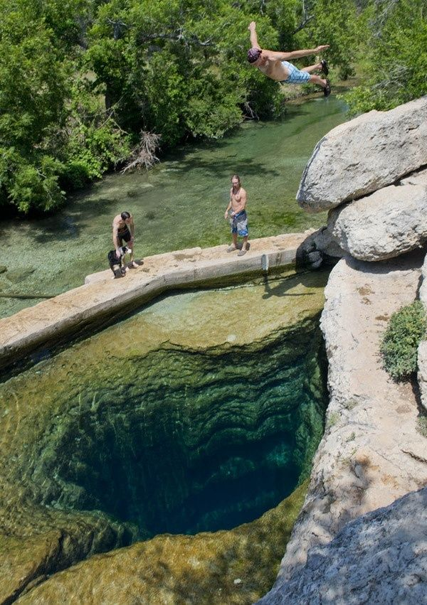 Jacob's well in Wimberley in Texas is one of the best swimming holes in America.