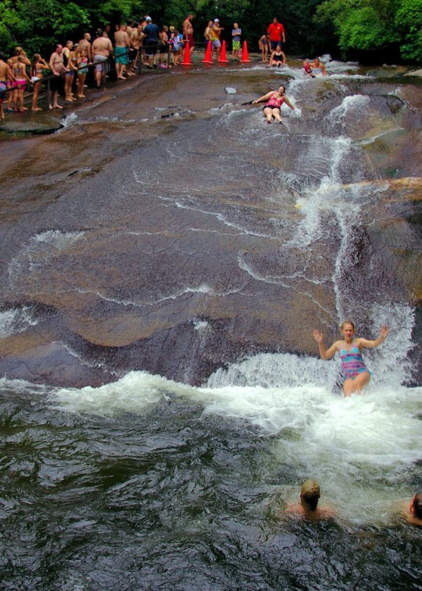 Sliding rock in North Carolina is one of the best swimming holes in America.