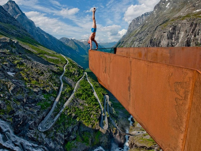 Eskil Ronningsbakken describes himself as an 'extreme artist' who is never afraid of heights.