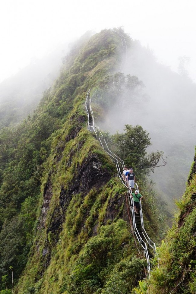 Amazing Haiku stairs in Hawaii are also called Stairway to heaven.